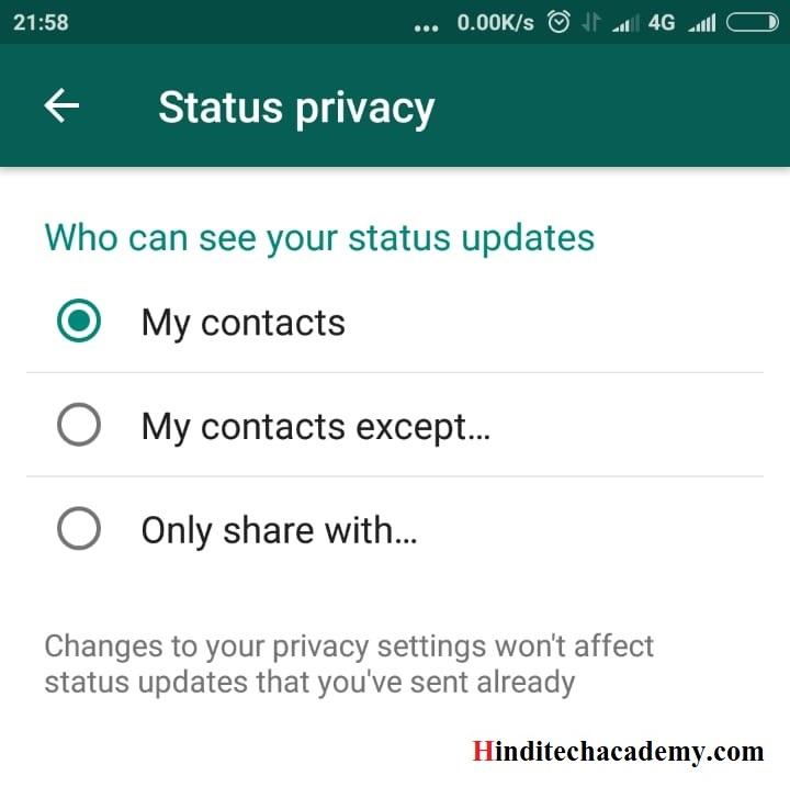 Apne whatsApp status ko private kaise banaye