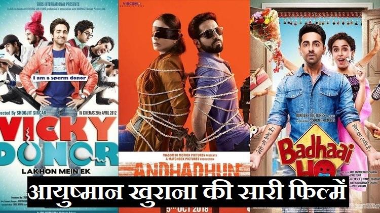 Ayushmann Khurrana All Movies List-आयुष्मान खुराना की सारी फिल्में